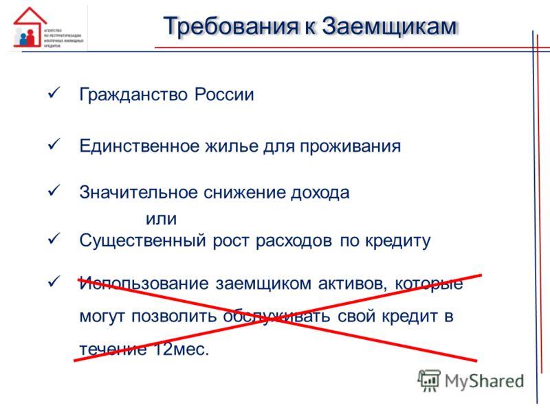 Требования к Заемщикам Гражданство России Единственное жилье для проживания Значительное снижение дохода или Существенный рост расходов по кредиту Использование заемщиком активов, которые могут позволить обслуживать свой кредит в течение 12мес.