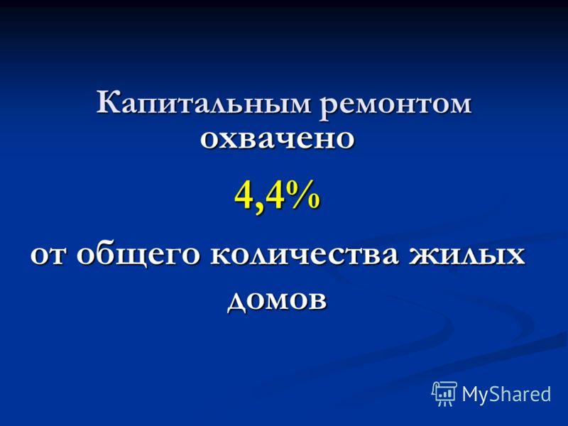 Капитальным ремонтом охвачено4,4% от общего количества жилых домов