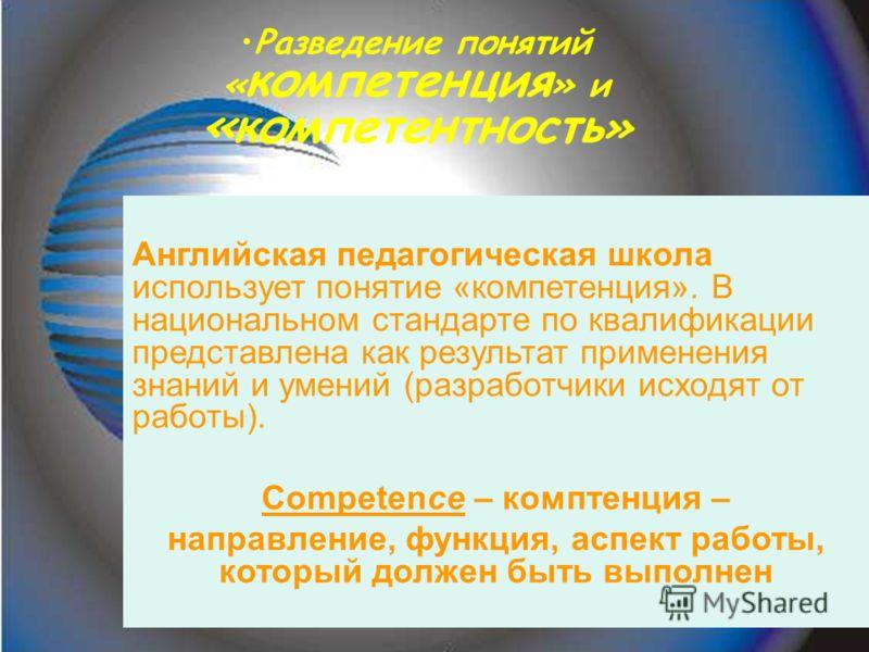 Компетентность - это уровень владения человеком технологиями профессиональной деятельности, а также наличие соответствующих этой деятельности качеств личности вне предметного характера (ответственность, самостоятельность, способность принятия индивид