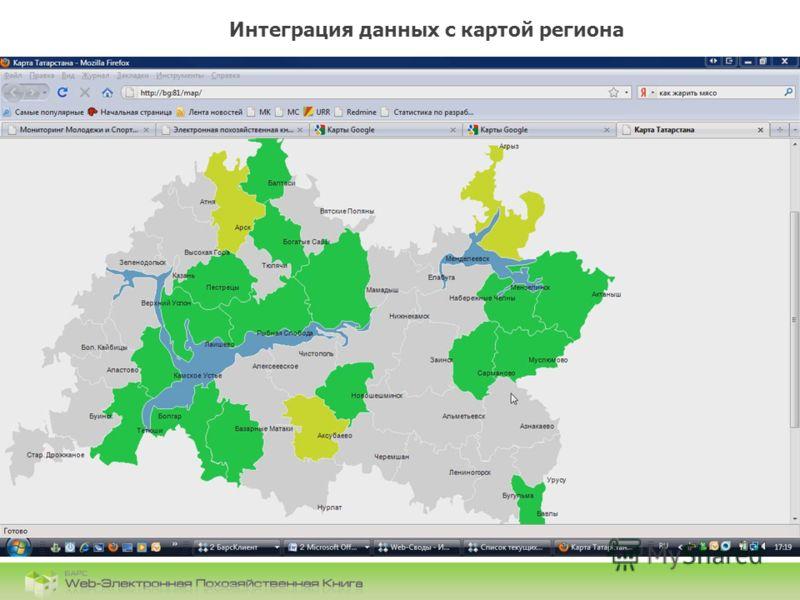 БАРС.Web-Электронная Похозяйственная Книга Интеграция данных с картой региона