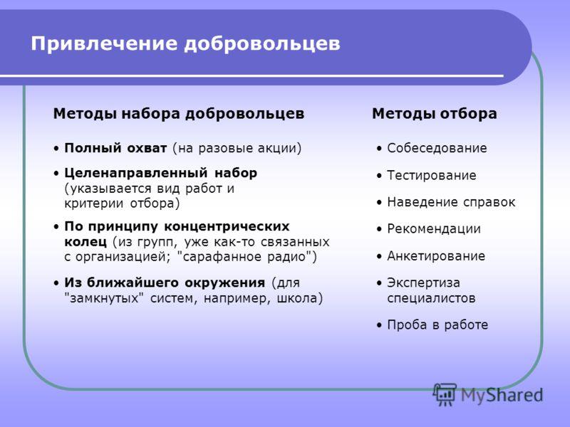 Привлечение добровольцев Методы набора добровольцевМетоды отбора Полный охват (на разовые акции) Целенаправленный набор (указывается вид работ и критерии отбора) По принципу концентрических колец (из групп, уже как-то связанных с организацией;