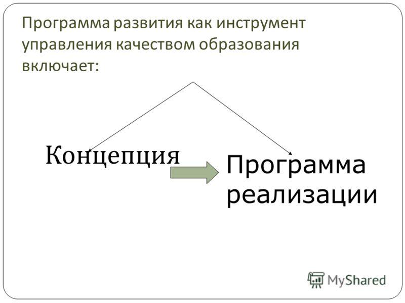 Программа развития как инструмент управления качеством образования включает : Концепция Программа реализации