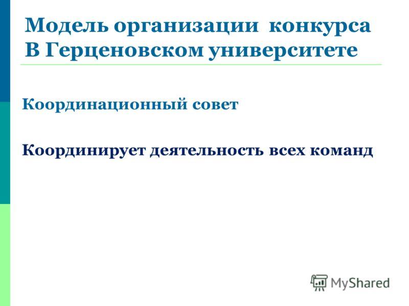 Модель организации конкурса В Герценовском университете Координационный совет Координирует деятельность всех команд