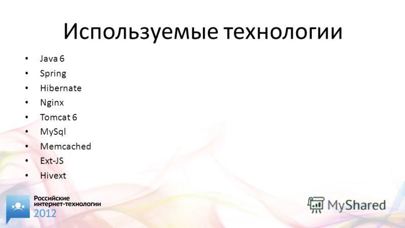 Используемые технологии Java 6 Spring Hibernate Nginx Tomcat 6 MySql Memcached Ext-JS Hivext