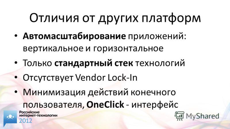 Отличия от других платформ Автомасштабирование приложений: вертикальное и горизонтальное Только стандартный стек технологий Отсутствует Vendor Lock-In Минимизация действий конечного пользователя, OneClick - интерфейс