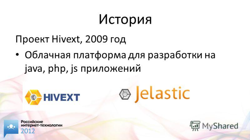 История Проект Hivext, 2009 год Облачная платформа для разработки на java, php, js приложений