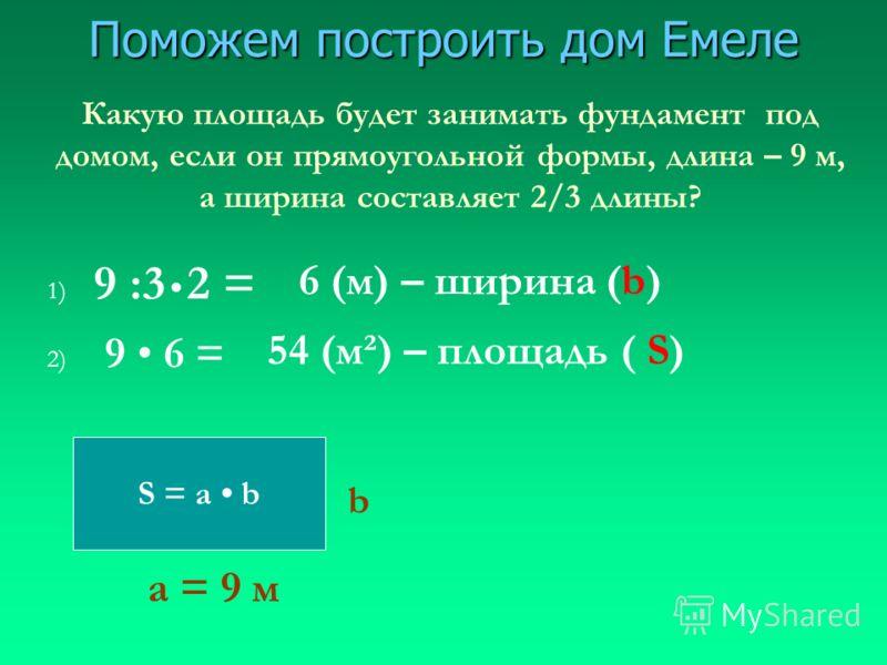 Поможем построить дом Емеле S = a b Какую площадь будет занимать фундамент под домом, если он прямоугольной формы, длина – 9 м, а ширина составляет 2/3 длины? а = 9 м b 1) 9 :3 2 = 6 (м) – ширина (b) 2) 9 6 = 54 (м²) – площадь ( S)