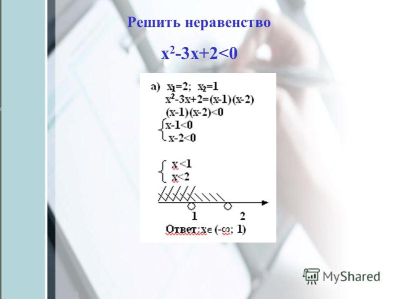 Решить неравенство х 2 -3х+2