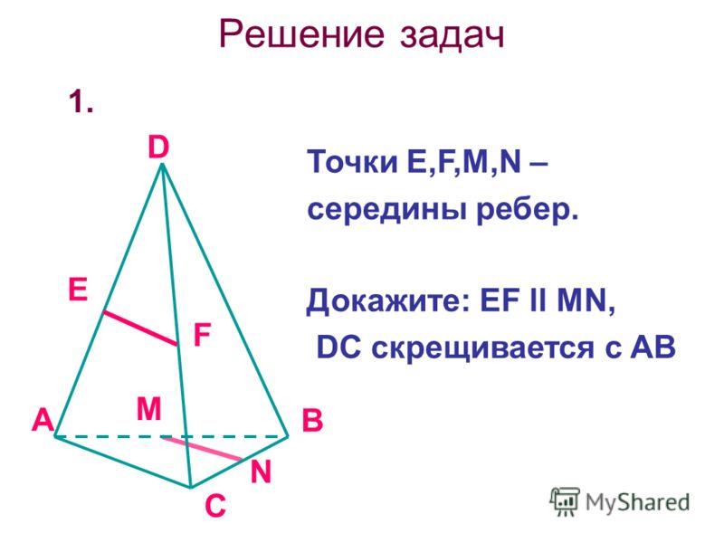 Решение задач 1. A B C D E F M N Точки Е,F,M,N – середины ребер. Докажите: EF ll MN, DC скрещивается с AB