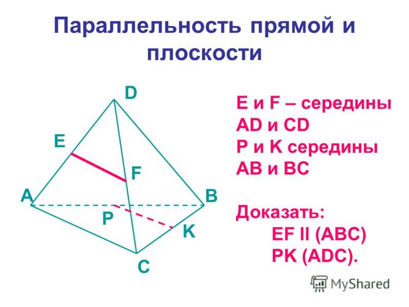 Параллельность прямой и плоскости E и F – середины AD и CD P и K середины AB и BC Доказать: EF ll (ABC) PK (ADC). A B C D E F K P