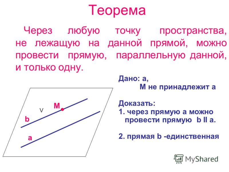 Теорема Через любую точку пространства, не лежащую на данной прямой, можно провести прямую, параллельную данной, и только одну. Дано: a, M не принадлежит a Доказать: 1. через прямую a можно провести прямую b ΙΙ a. 2. прямая b -единственная a V M b