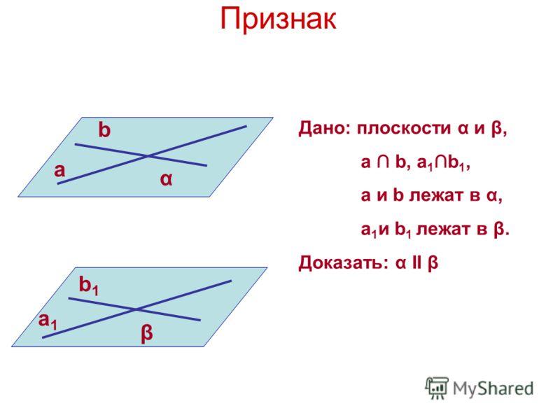Признак a b α b1b1 a1a1 β Дано: плоскости α и β, a b, a 1 b 1, a и b лежат в α, a 1 и b 1 лежат в β. Доказать: α II β