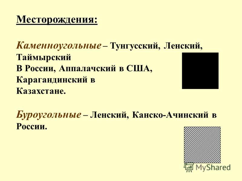 Месторождения: Каменноугольные – Тунгусский, Ленский, Таймырский В России, Аппалачский в США, Карагандинский в Казахстане. Буроугольные – Ленский, Канско-Ачинский в России.