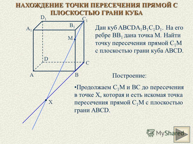 НАХОЖДЕНИЕ ТОЧКИ ПЕРЕСЕЧЕНИЯ ПРЯМОЙ С ПЛОСКОСТЬЮ ГРАНИ КУБА Дан куб ABCDA 1 B 1 C 1 D 1. На его ребре ВВ 1 дана точка M. Найти точку пересечения прямой C 1 M с плоскостью грани куба ABCD. M AB C D A1A1 B1B1 C1C1 D1D1 X Построение: Продолжаем C 1 M и
