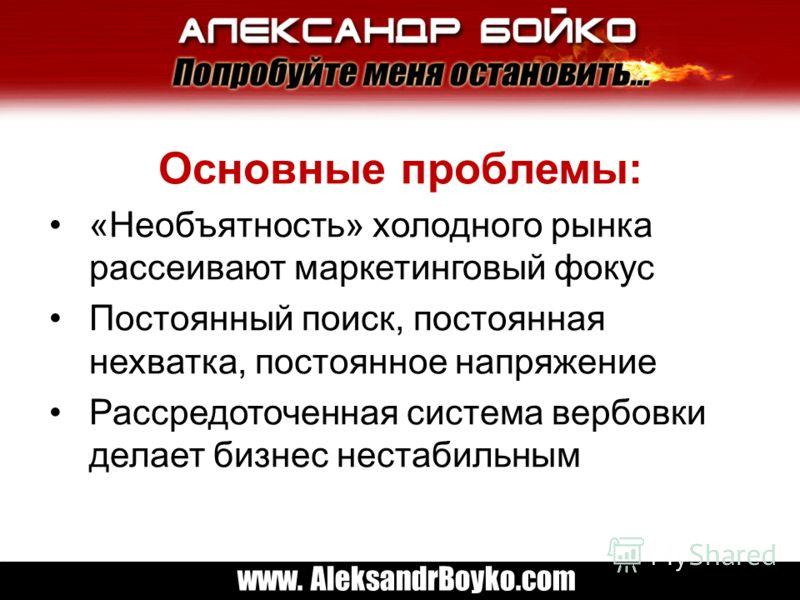 www. AleksandrBoyko.com Основные проблемы: «Необъятность» холодного рынка рассеивают маркетинговый фокус Постоянный поиск, постоянная нехватка, постоянное напряжение Рассредоточенная система вербовки делает бизнес нестабильным