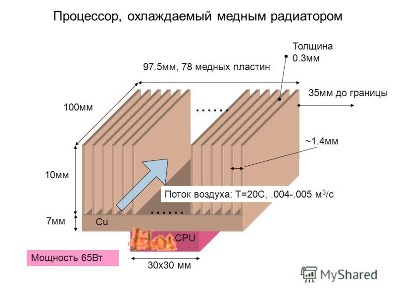 CPU Процессор, охлаждаемый медным радиатором Мощность 65Вт 10мм ~1.4мм Толщина 0.3мм 7мм …… 97.5мм, 78 медных пластин 100мм …… Поток воздуха: T=20C,.004-.005 м 3 /с Cu 30x30 мм 35мм до границы