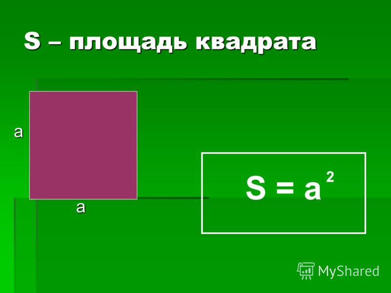 S – площадь квадрата а а S = a 2