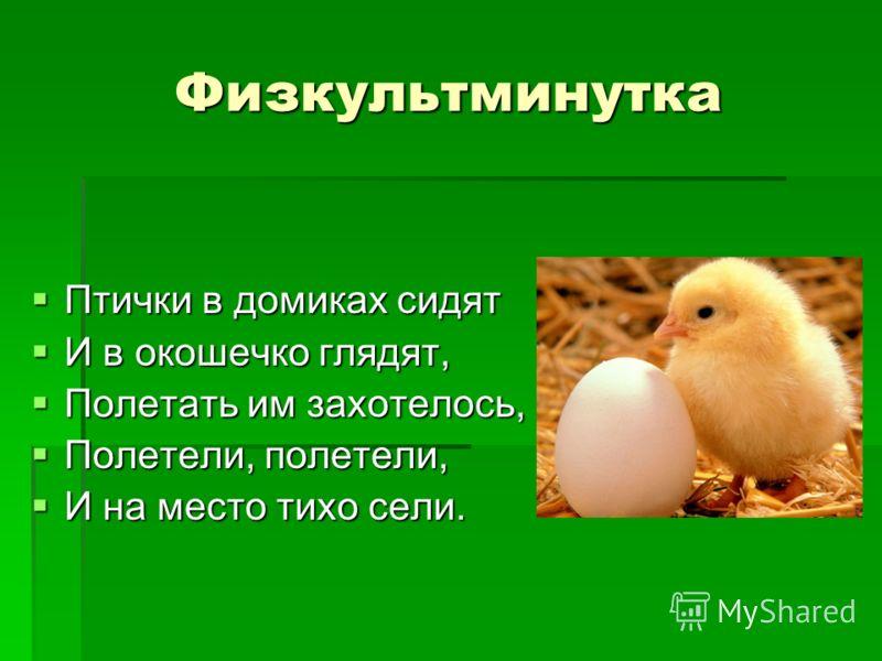 Физкультминутка Птички в домиках сидят Птички в домиках сидят И в окошечко глядят, И в окошечко глядят, Полетать им захотелось, Полетать им захотелось, Полетели, полетели, Полетели, полетели, И на место тихо сели. И на место тихо сели.