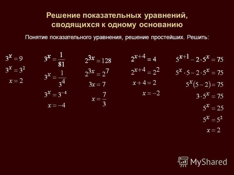 Решение показательных уравнений, сводящихся к одному основанию Понятие показательного уравнения, решение простейших. Решить: