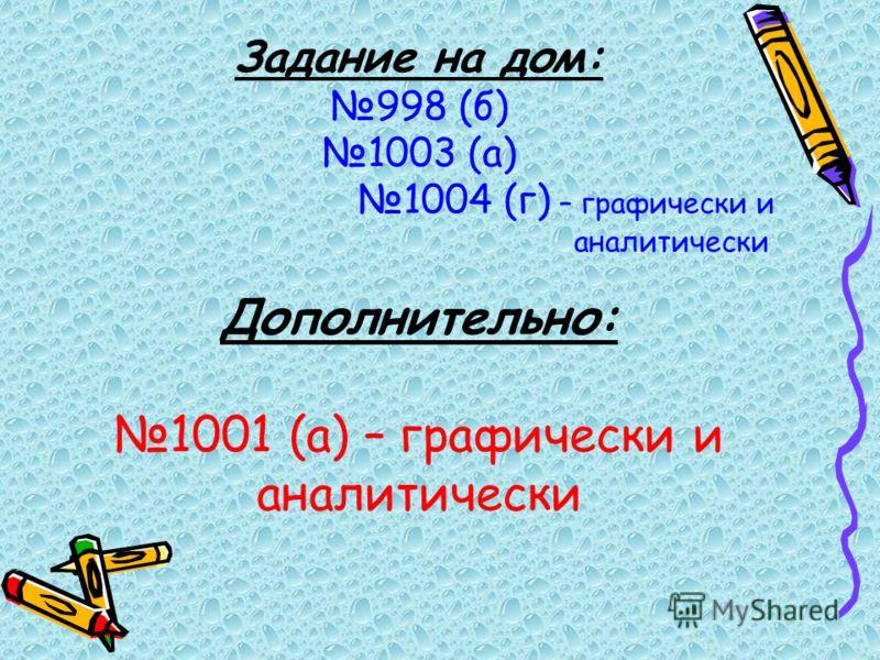 Задание на дом: 998 (б) 1003 (а) 1004 (г) – графически и аналитически Дополнительно: 1001 (а) – графически и аналитически