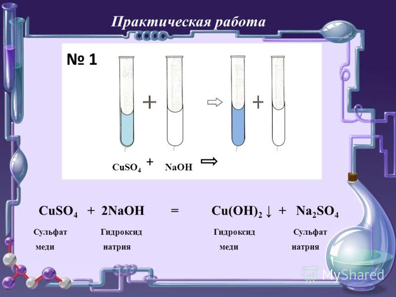 CuSO 4 + NaOH CuSO 4 + 2NaOH = Cu(OH) 2 + Na 2 SO 4 Сульфат Гидроксид Гидроксид Сульфат меди натрия меди натрия 1