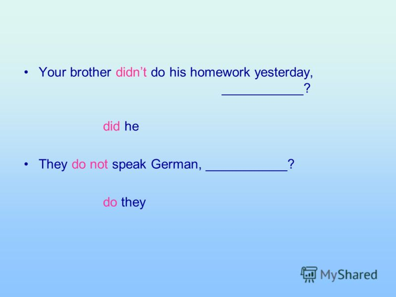 Your brother didnt do his homework yesterday, ___________? did he They do not speak German, ___________? do they