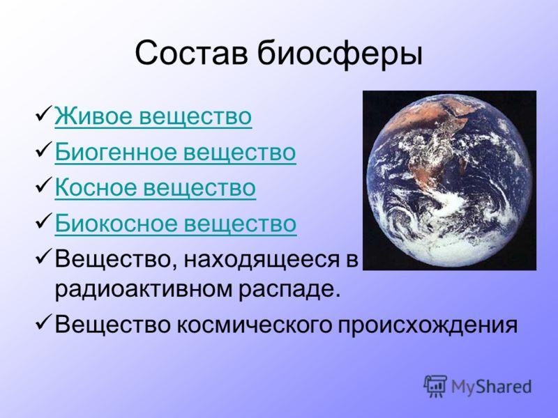 Состав биосферы Живое вещество Биогенное вещество Косное вещество Биокосное вещество Вещество, находящееся в радиоактивном распаде. Вещество космического происхождения