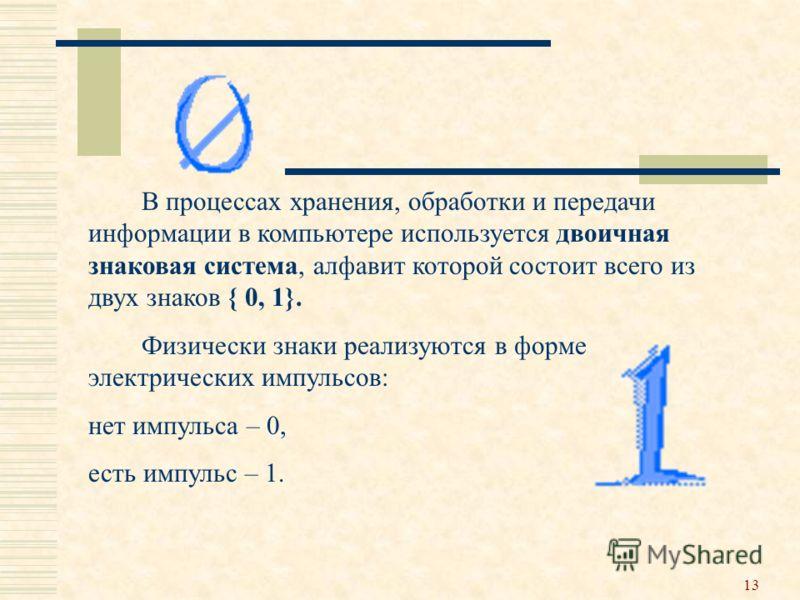 13 В процессах хранения, обработки и передачи информации в компьютере используется двоичная знаковая система, алфавит которой состоит всего из двух знаков { 0, 1}. Физически знаки реализуются в форме электрических импульсов: нет импульса – 0, есть им