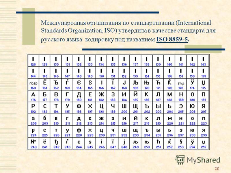 20 Международная организация по стандартизации (International Standards Organization, ISO) утвердила в качестве стандарта для русского языка кодировку под названием ISO 8859-5.ISO 8859-5