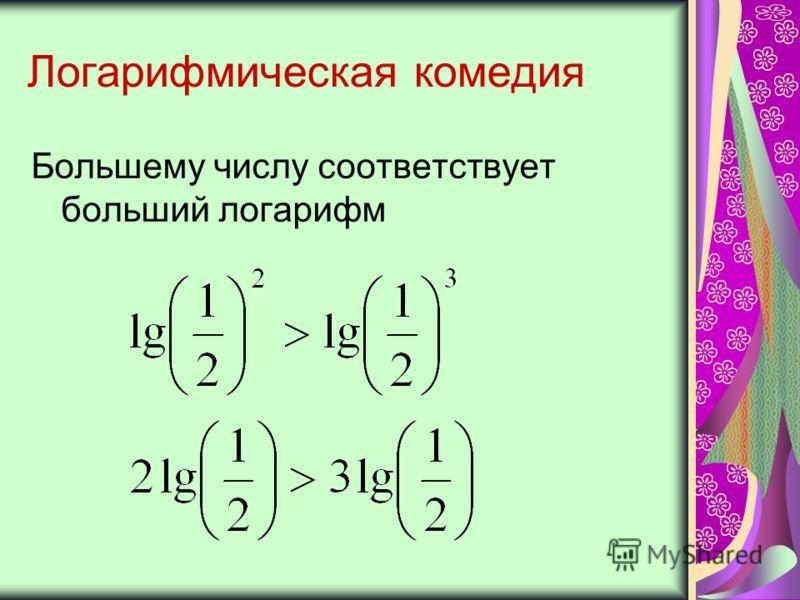 Логарифмическая комедия Большему числу соответствует больший логарифм