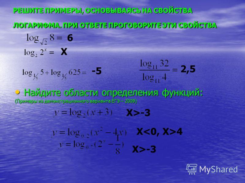 Найдите области определения функций: Найдите области определения функций: (Примеры из демонстрационного варианта ЕГЭ – 2009) РЕШИТЕ ПРИМЕРЫ, ОСНОВЫВАЯСЬ НА СВОЙСТВА ЛОГАРИФМА. ПРИ ОТВЕТЕ ПРОГОВОРИТЕ ЭТИ СВОЙСТВА 6 X -5 2,5 X>-3 X>-3 X4
