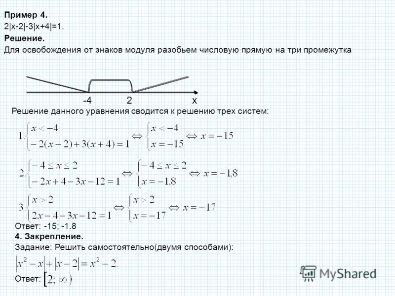 Пример 4. 2|х-2|-3|x+4|=1. Решение. Для освобождения от знаков модуля разобьем числовую прямую на три промежутка Решение данного уравнения сводится к решению трех систем: x2-4 Ответ: -15; -1.8 4. Закрепление. Задание: Решить самостоятельно(двумя спос