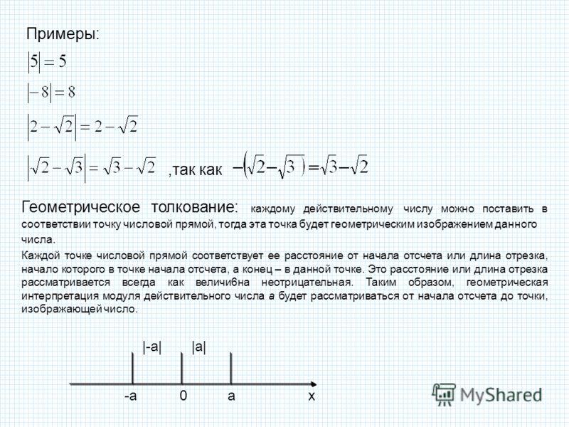 ,так как Примеры: Геометрическое толкование: каждому действительному числу можно поставить в соответствии точку числовой прямой, тогда эта точка будет геометрическим изображением данного числа. Каждой точке числовой прямой соответствует ее расстояние
