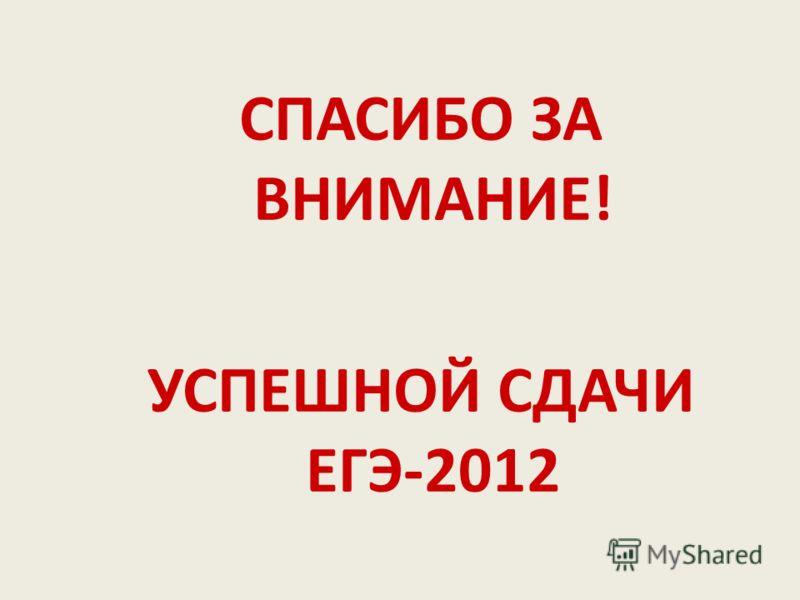 СПАСИБО ЗА ВНИМАНИЕ! УСПЕШНОЙ СДАЧИ ЕГЭ-2012