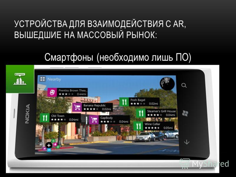 УСТРОЙСТВА ДЛЯ ВЗАИМОДЕЙСТВИЯ С AR, ВЫШЕДШИЕ НА МАССОВЫЙ РЫНОК: Смартфоны (необходимо лишь ПО)