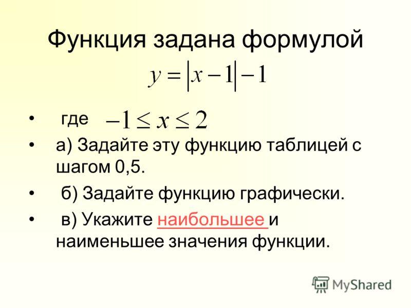 Функция задана формулой где а) Задайте эту функцию таблицей с шагом 0,5. б) Задайте функцию графически. в) Укажите наибольшее и наименьшее значения функции.наибольшее