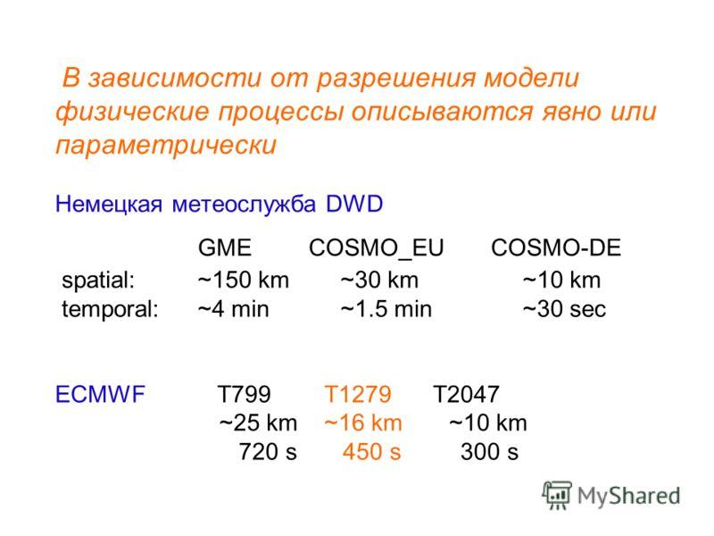В зависимости от разрешения модели физические процессы описываются явно или параметрически Немецкая метеослужба DWD GME COSMO_EU COSMO-DE spatial: ~150 km ~30 km ~10 km temporal:~4 min~1.5 min ~30 sec ECMWF T799 T1279 T2047 ~25 km ~16 km ~10 km 720 s