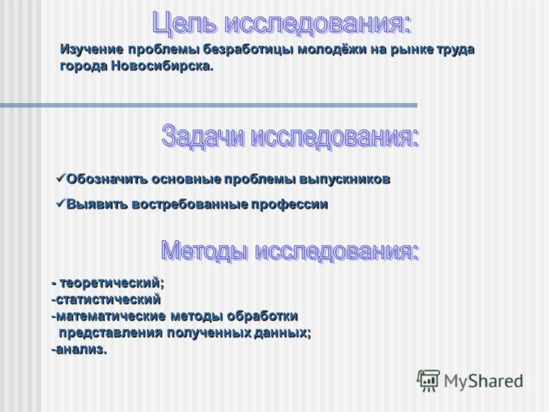 Изучение проблемы безработицы молодёжи на рынке труда города Новосибирска. - теоретический; -статистический -математические методы обработки представления полученных данных; представления полученных данных; -анализ. Обозначить основные проблемы выпус