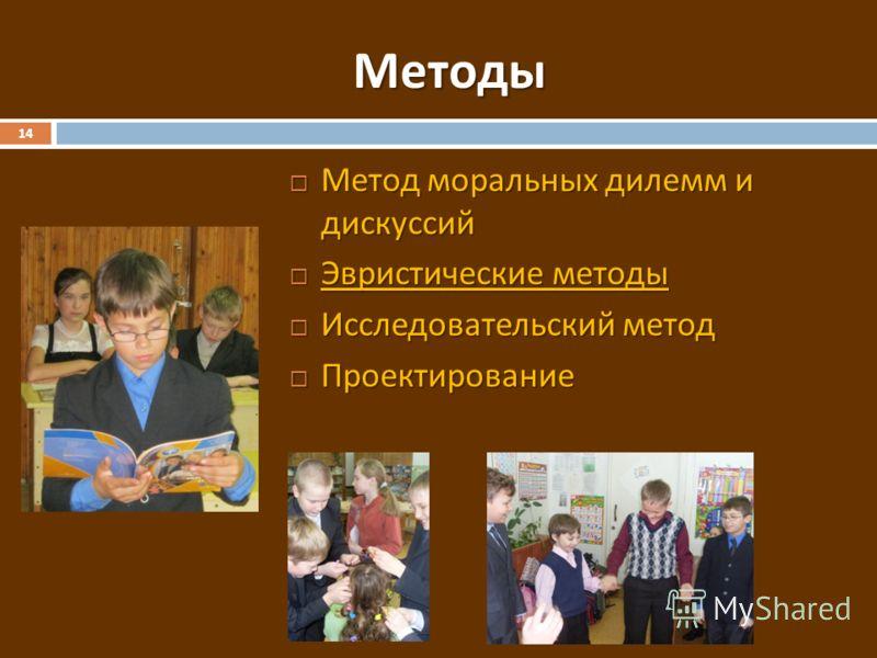 Методы 14 Метод моральных дилемм и дискуссий Метод моральных дилемм и дискуссий Эвристические методы Эвристические методы Исследовательский метод Исследовательский метод Проектирование Проектирование