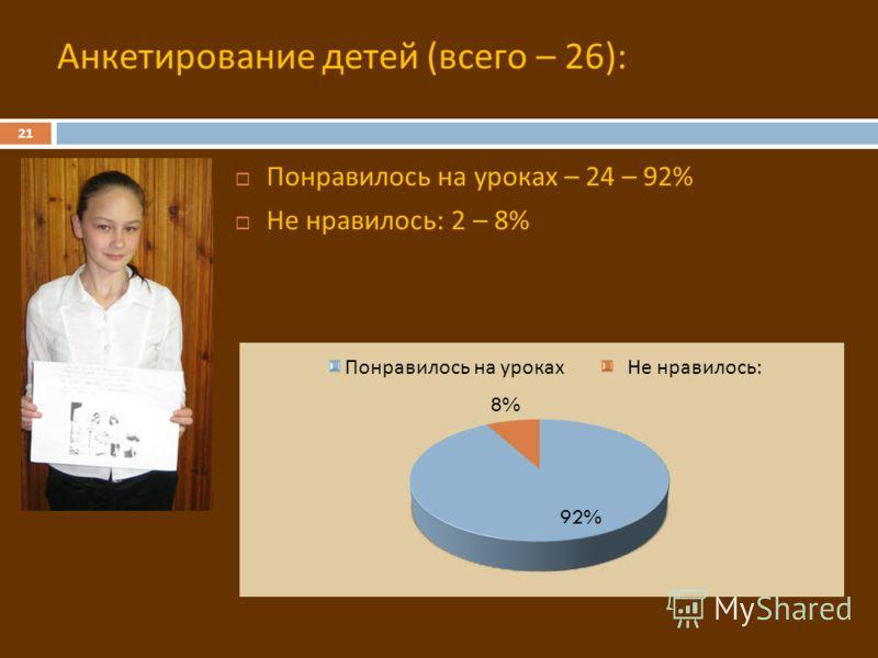 21 Понравилось на уроках – 24 – 92% Не нравилось : 2 – 8% Анкетирование детей (всего – 26):