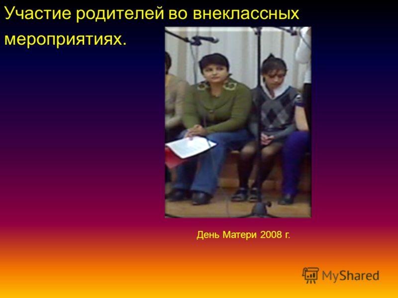 Участие родителей во внеклассных мероприятиях. День Матери 2008 г.