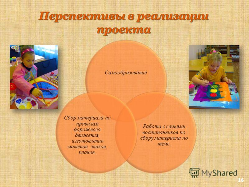 16 Самообразование Работа с семьями воспитанников по сбору материала по теме. Сбор материала по правилам дорожного движения, изготовление макетов, знаков, планов.
