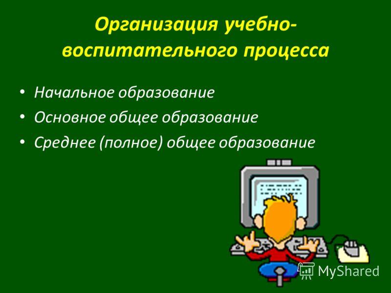Организация учебно- воспитательного процесса Начальное образование Основное общее образование Среднее (полное) общее образование
