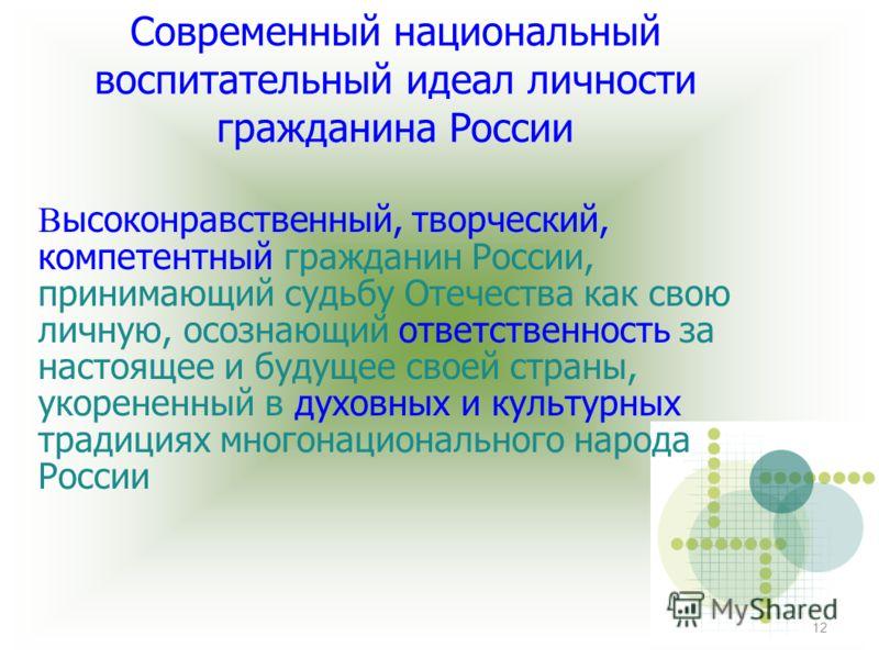 12 Современный национальный воспитательный идеал личности гражданина России В ысоконравственный, творческий, компетентный гражданин России, принимающий судьбу Отечества как свою личную, осознающий ответственность за настоящее и будущее своей страны,