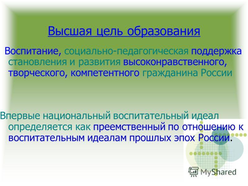 Воспитание, социально-педагогическая поддержка становления и развития высоконравственного, творческого, компетентного гражданина России Впервые национальный воспитательный идеал определяется как преемственный по отношению к воспитательным идеалам про