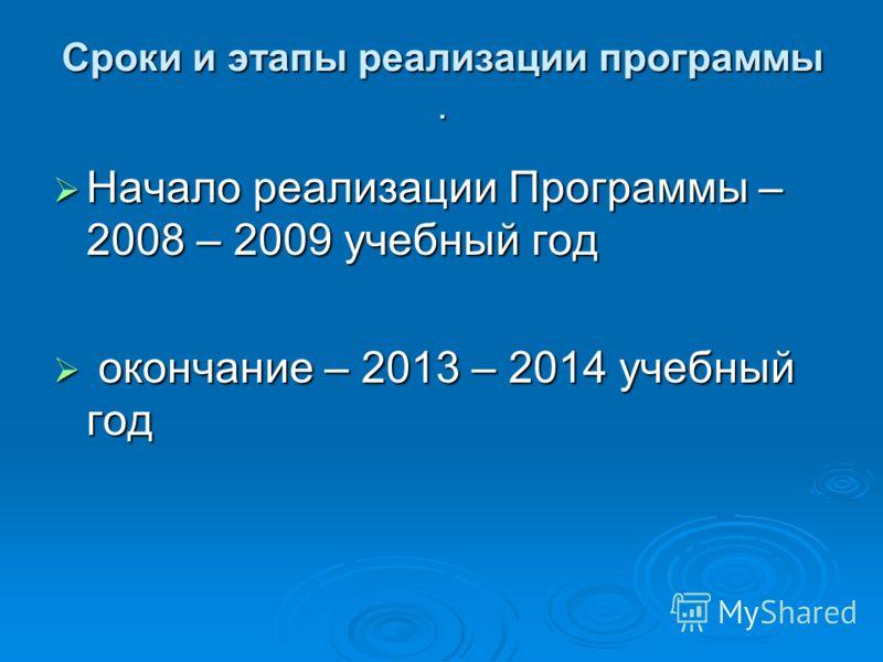 Сроки и этапы реализации программы. Начало реализации Программы – 2008 – 2009 учебный год Начало реализации Программы – 2008 – 2009 учебный год окончание – 2013 – 2014 учебный год окончание – 2013 – 2014 учебный год