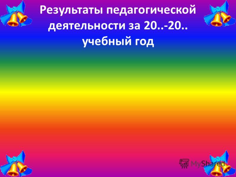 Результаты педагогической деятельности за 20..-20.. учебный год