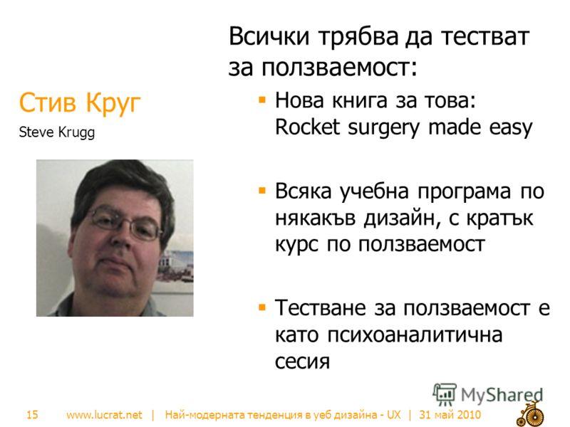 www.lucrat.net | Най-модерната тенденция в уеб дизайна - UX | 31 май 2010 Стив Круг Всички трябва да тестват за ползваемост: Нова книга за това: Rocket surgery made easy Всяка учебна програма по някакъв дизайн, с кратък курс по ползваемост Тестване з