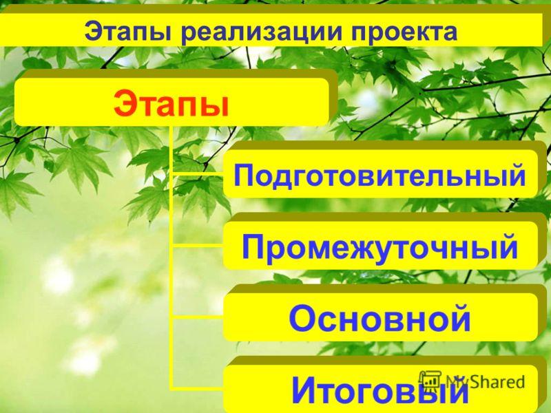 Этапы реализации проекта Этапы Подготовительный Промежуточный Основной Итоговый