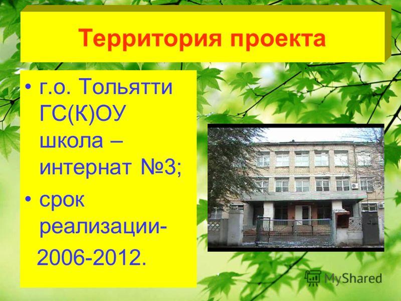 Территория проекта г.о. Тольятти ГС(К)ОУ школа – интернат 3; срок реализации- 2006-2012.